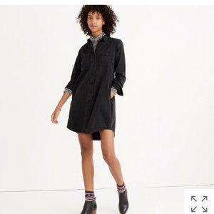 NWT Madewell Black Denim Shirtdress